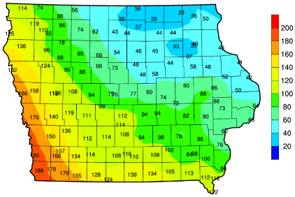 Accumulated growing degree days in Iowa